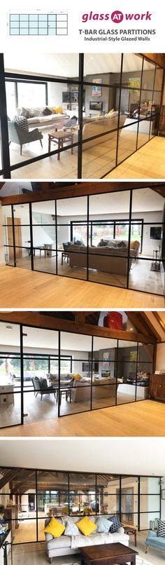 Industrial style glass partitions for stylish interior glazing. Our slimline T-B. Gym Interior, Interior Design Living Room, Stylish Interior, Bungalow Extensions, Home Gym Decor, Glass Partition, Trendy Home, Glass Door, Glass Walls