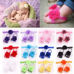Newborn Baby Girl Kid Infant Headband Foot Flower Elastic Hair Band Accessories #Unbranded