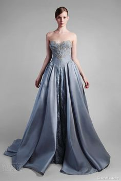 gemy maalouf couture spring 2014 strapless powder blue ball gown