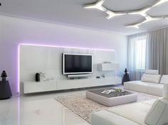 carrelage en grès cérame blanc neige, faux plafond design, mobilier blanc laqué et tapis shaggy
