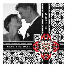 Save The Date Oriental Damask Red and Black Announcements