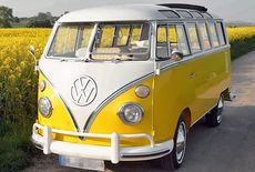 Yellow VW bus. I want one.