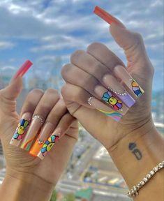 Drip Nails, Glow Nails, Bling Acrylic Nails, Best Acrylic Nails, Edgy Nails, Trendy Nails, Swag Nails, Long Square Acrylic Nails, Acylic Nails