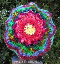 Gypsy Spirit Victorian Aster Freeform Crochet Beret Tam