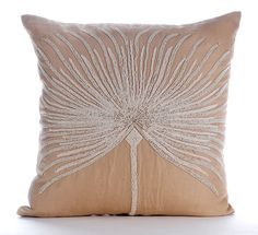 Beige Throw Pillows Cover For Couch 16x16 Cotton by TheHomeCentric