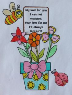 This is a great Mother's Day Craft! Includes step-by-step instructions and templates needed to create a Mother's Day Flower Pot. Students can either work from scratch or use one of the two partially completed templates to create this Mother's Day Flower Pot. All students have to do is color, cut and glue!  Includes: - flower pot - 6 different types of flowers (a simpler cutting version is also included) - decorations (dragon fly, bee, lady bug, bow for the flower pot, butterfly) - flower pot…