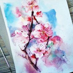 Flor de cerejeira - lindo desenho para uma futura tattoo  aquarela. #tattoo…