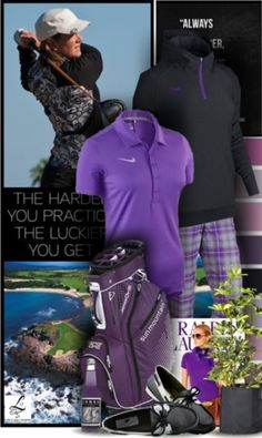 Lovin' purple and black of Nike Golf! The latest golf style only here at lorisgolfshoppe.polyvore.com #golf #ootd #golfwear #lorisgolfshoppe