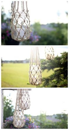 Jute String Lanterns - Perfect for my backyard or patio party! Great macrame video tutorial!