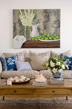 Wall art behind sofa /Anna Spiro Beautiful Interiors, Beautiful Homes, Interior Styling, Interior Decorating, Anna Spiro, Lake Decor, Kitchen Family Rooms, Blue And White China, Romantic Homes