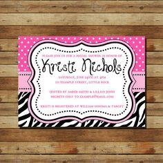 Hot Pink Black Zebra Bridal Shower Invitation (digital file)