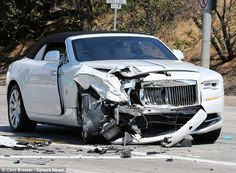 Kris Kardashian Jenner has been treated by paramedics at the scene of a car crash near her Calabasas home; her Rolls-Royce pictured