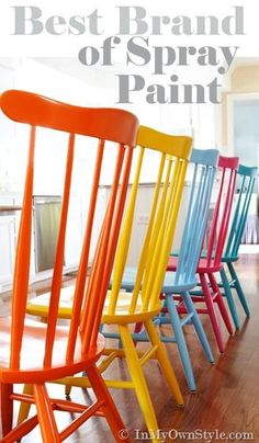 I love the idea of having mismatched painted chairs. Spray Painting Wood Chair - 15 Colorful DIY Home Decor Projects Best Spray Paint, Spray Paint Wood, Spray Paint Chairs, Milk Paint, Paint Furniture, Furniture Projects, Furniture Makeover, Wooden Chair Makeover, Modern Furniture