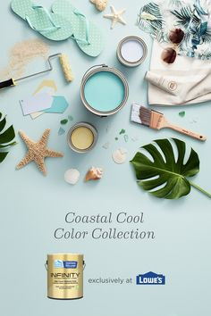 Coastal Cool color palette: Take your interior painting inspiration from the sand, salt and sea with paint colors that bring room-to-room harmony to your home. Interior Paint Colors, Paint Colors For Home, Coastal Cottage, Coastal Decor, Coastal Style, Home Room Design, Interior Design Living Room, Wall Colors, House Colors