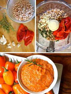 This garlicky Roasted Red Pepper Hummus is absolutely delicious with freshly chopped rosemary, creamy white beans, and a hint of olive oil.