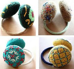 Crocheted and embroidered earmuffs by Lanusa ♥♥♥