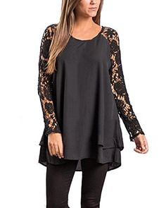 0b644e1339d ZANZEA Women Casual Sexy Lace Stitching LongSleeved Chiffon Tshirt Blouse  Dresses Black XL -- Check out the image by visiting the link.