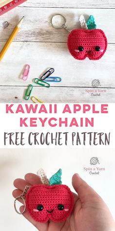 Amigurumi Crochet Kawaii Apple Keychain Free Crochet Pattern - Spin a Yarn Crochet - Hi, friends! Can you believe that Back to School time has rolled around already? Whether you're excited for it (hello,… Crochet Kawaii, Crochet Food, Cute Crochet, Crochet Yarn, Crochet Craft Fair, Crochet Motifs, Crochet Patterns Amigurumi, Crochet Dolls, Crochet Teacher Gifts
