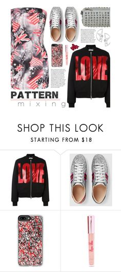 """""""Stay Bold: Pattern Mixing"""" by beebeely-look ❤ liked on Polyvore featuring Givenchy, Gucci, Casetify, Poppin Hoez, Obsessive Compulsive Cosmetics, casual, sammydress, flag, bomberjackets and patternmixing"""