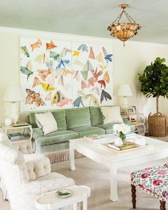 "Want a tree and gasket in den for texture and ""life""  See more of Sara Gilbane Interiors's Westchester Home on 1stdibs"