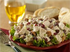 Cape Cod Chicken Salad        4 cups chopped cooked chicken breast      1 celery rib diced (use 2 or 3 if you are big on celery)      1 cup sweetened dried cranberries      1/2 cup chopped pecans (toasted)      1 1/2 cups mayo      1/3 cup orange-blossom honey      1/4 teaspoon salt      1/4 teaspoon pepper