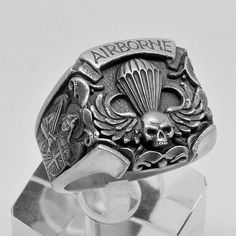 St Michael Sterling Silver US Army Airborne Parachutist Skull Biker mens Ring