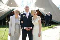 relaxed group photograph at essex tipi wedding