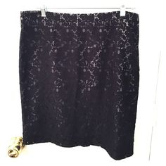 Loft black lace skirt Black lace over silver fabric, side zip and clasp LOFT Skirts Pencil