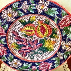 """Beautiful Italian Mosaic Plate. Wouldn't it be wonderful to learn this technique? Courses start June 2014. Please contact The Vocational Arts and Crafts Training Centre 'Virgilio Alterocca"""" of Terni, Italy: cdfartiemestieri@gmail.com"""