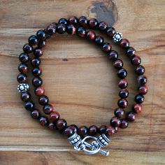 Men's Bracelet Red Tiger Eye Wrap Bracelet 6MM by winkandbauble  R$260