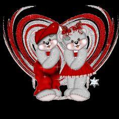 Ositos enamorados muy contentos juntos