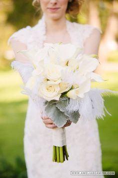 Roaring 20's wedding Springside Inn Bridal bouquet of callas, roses, dusty miller and ostrich feathers