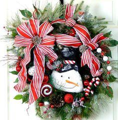 Snowman Wreath in Red White Black ,  Wreaths w Snowman, Christmas Decor, Holiday Wreaths, Winter Wreath,  Wreath w Peppermint, Snowman Decor