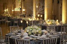 pewter linens w/silver chivari chairs...put eggplant napkins and table runners?!?
