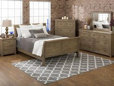 Slater Mill Cottage Pine Wood 5pc Bedroom Set w/Queen Sleigh Bed