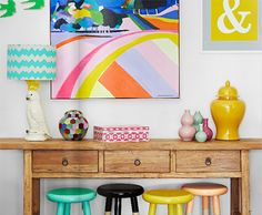Love the colorful stools for the kiddos.new basement idea. Painted Stools, Tropical Decor, House And Home Magazine, Interior Design Inspiration, House Colors, Decoration, Home And Living, Painted Furniture, Colorful Furniture
