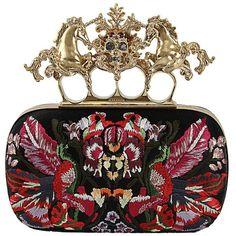 Alexander McQueen Unicorn Skull Embroidered Box Clutch ($2,455) found on Polyvore