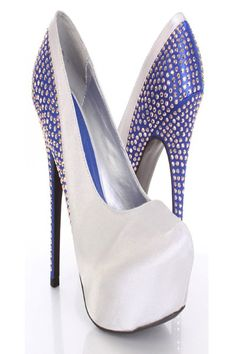 Silver Blue Satin Faux Leather Studded Back Platform Pump Heels