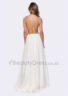 Floor-length Ivory Chiffon A-line backless evening dress with V-neck - - Prom Dresses Evening Dresses, Prom Dresses, Formal Dresses, Backless, Chiffon, Ivory, Floor, V Neck, Dance
