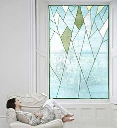 Abstract Tree Design - Sheer shade / covering for window and space décor. Window Coverings, Window Treatments, Sheer Shades, Korean Art, Mondrian, Tree Designs, Textile Artists, Fabric Art, Fiber Art