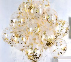 10X Clear Balloons Gold Star foil Confetti Transparent Balloons Happy Birthday Baby shower Wedding Party Supplies by rimrimflower on Etsy