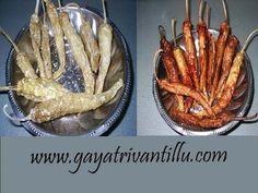 Oora Mirapakayalu - Yoghurt soaked Chilies and Sun-dried - Andhra Food - Andhra Recipes Telugu Vantalu Gayatri Vantillu