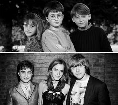 ♡♡ I love how in the bottom pic Emma and Rupert are totally leaning towards each other and Dan is just sort of standing by them. lol <<<< It's just like on the movies. Harry (Dan) is the third wheel of Hermione and Ron! Images Harry Potter, Harry Potter Love, Harry Potter Fandom, Harry Potter World, Ron Y Hermione, Hermione Granger, Ron Weasley, Draco Malfoy, Golden Trio