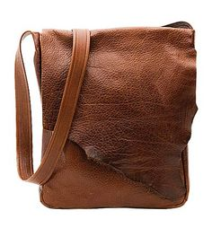 """Distressed brown leather with natural rough edge flap  [11"""" H x 13"""" W]"""