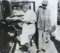 c. 1939: Mr. M. A. Jinnah hold the car door for Mr. M. K. Gandhi (A Rarely seen Photo)  M. K. Gandhi enters his car with Muhammad Ali Jinnah, enroute to the Viceroy's Palace in Dehli. They conferred with the viceroy regarding India's demand for dominion status in return for support of Britain's War against Germany.