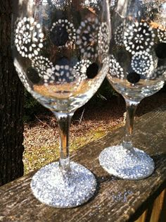 "Burlap and Bananas: ""BLING"" in the New Year with these DIY Glammed-Up Wine Glasses!"