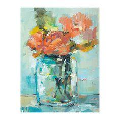 Mason Jar Flowers Canvas Art Print | Kirklands - 30.5L x 1.5W x 40.5H in - $59.99