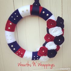 Red, White and Blue Yarn Wreath by WreathsnWrappings on Etsy