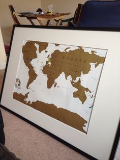 scratch map framed map