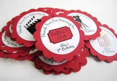 """Planning for a Movie Night, Theater or Hollywood themed party? What a fun way in celebrating a birthday or a baby shower. It is a great theme for children and movie lovers. You'll get 12 PERSONALIZED Movie themed gift tags that I'll choose randomly. """"Thank You For Starring In..."""" are printed arching on the top and your personalized text will be printed on the bottom of the image. These tags come with Board, Director Chair, Film Canister, Movie Camera, Popcorn, Soda, and Movie Tickets."""